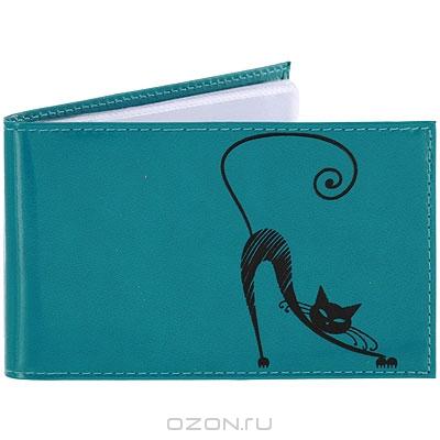 8dc3a44f00f7 Обложка для паспорта Befler «Изящная кошка», цвет: морская волна.